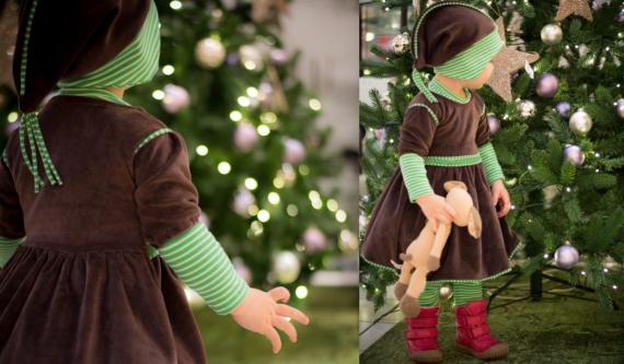 Braunes Weihnachtskleid aus Nickystoff